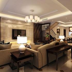 300㎡别墅新中式风格客厅吊顶装修效果图新中式风格边几图片