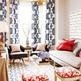 窗帘窗帘120㎡欧式三居大户型客厅做旧味道的简欧生活效果图欣赏