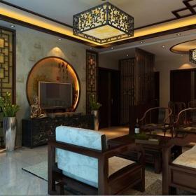 中式客廳背景墻電視背景墻客廳效果圖