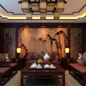 新中式彩雕背景墻客廳背景墻設計裝修效果圖