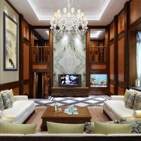水晶吊灯沙发家具茶几新中式风格客厅电视背景墙装修效果图新中式风格?#30340;?#30005;视柜图片