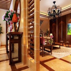 310㎡别墅中式新古典风格客厅玄关隔断装修效果图中式新古典风格圆凳图片