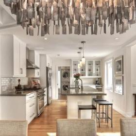 现代简约风格厨房2014年别墅唯美开放式厨房客厅装修图片效果图