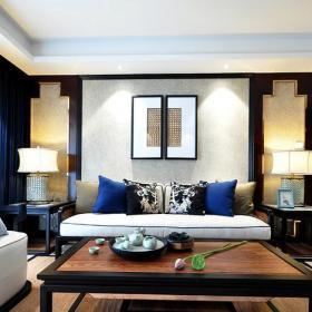 臺燈沙發椅墻面裝飾茶幾沙發背景墻新中式黑色木質客廳家具圖片效果圖欣賞
