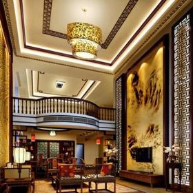 中式风格豪华别墅客厅电视背景墙装修效果图中式风格实木电视柜图片