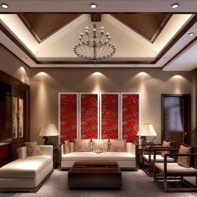中式古典六居室以上客厅窗帘装修图片效果图