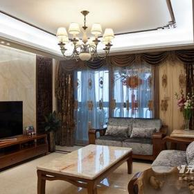 新中式吊灯吊顶沙发茶几电视柜简约中式风格客厅窗帘装修效果图简约中式风格边几图片