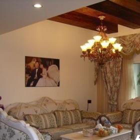 田园风格?#35789;?#28010;漫富裕型客厅沙发背景墙沙发婚?#32771;?#35013;图效果图