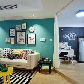 混搭风格小清新60平米一室一厅清新怡人客厅装修设计效果图
