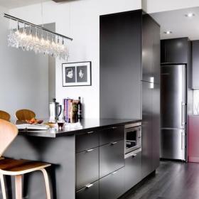 現代簡約風格廚房小公寓實用客廳3平米廚房裝修效果圖
