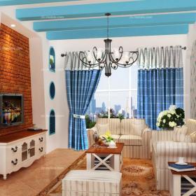 藍色窗簾90㎡吊頂二居躍層客廳海天一色的地中海風格裝修效果圖欣賞