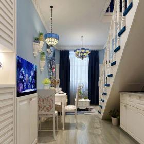 地中海風格一居室客廳吊頂裝修效果圖