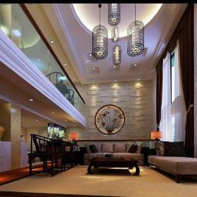 中式风格别墅客厅壁纸装修图片效果图