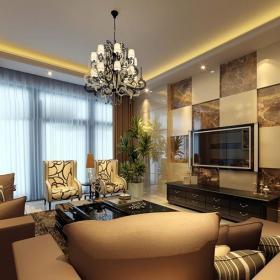窗帘三居客厅吊顶新古典主义石材拼接电视背景墙效装修效果图