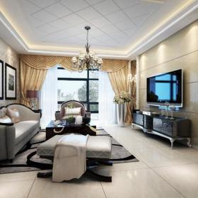 窗帘二居吊顶欧式风格客厅石材电视背景墙效果图