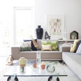 客廳茶幾玻璃桌效果圖