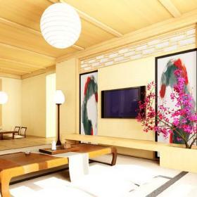 日式风格客厅电视背景墙装修效果图日式风格吊顶图片