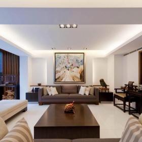日式复式大客厅沙发摆放图效果图
