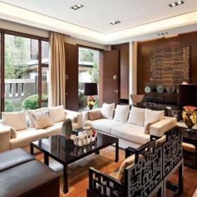新中式风格别墅客厅背景墙装修图片效果图