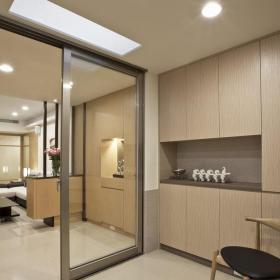 宜家室内客厅玻璃推拉门隔断设计效果图