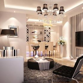 现代吊顶90㎡地毯客厅与餐厅整体空间装修效果图