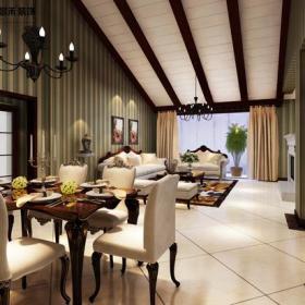 餐椅置物架客厅沙发餐台129三居美式客厅吊顶装修效果图美式吊灯图片
