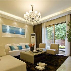 現代簡約躍層客廳窗簾裝修效果圖欣賞