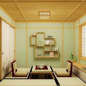 榻榻米吊顶背景墙小户型客厅吊顶原木色的日式家装效果图