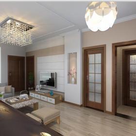 地柜家具现代简约吊灯茶几电视柜二居客厅白色电视背景墙装修效果图