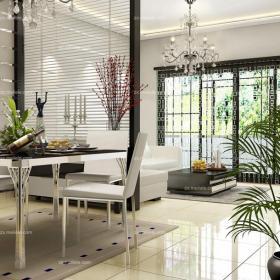 黑色隔断现代90㎡黑色客厅与餐厅隔断设计打造完美空间层次感装修效果图