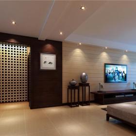 地柜交换空间新中式电视柜电视背景墙大空间开放式客厅过道装修效果图