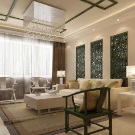 中式客厅140平米三居室客厅新中式装修样板间效果图