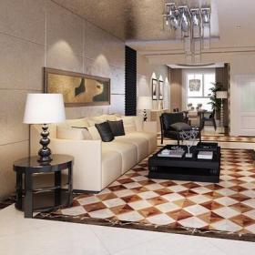 现代简约风格客厅菱形石材拼花装修效果图