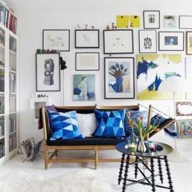 照片墙客厅过道客厅背景墙设计布置图效果图
