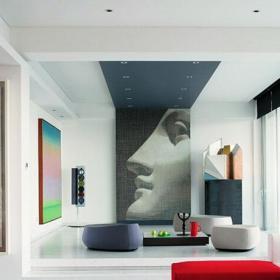 抽象装饰画打造艺术感客厅效果图