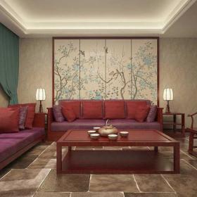 台灯中式沙发椅凳客厅窗帘新中式风格客厅背景墙装修效果图新中式风格茶几图片