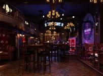 酒柜吧台现代工装主题酒吧时尚动感的酒吧设计装修效果图