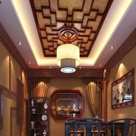 中式风格茶楼包间吊顶装修效果图