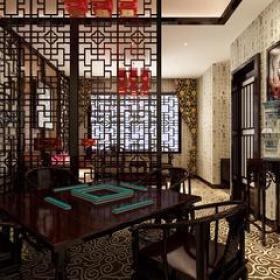 新中式风格茶楼包间隔断装修效果图-新中式风格椅凳图片