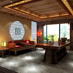 新中式风格茶楼包间装修效果图-新中式风格实木沙发图片