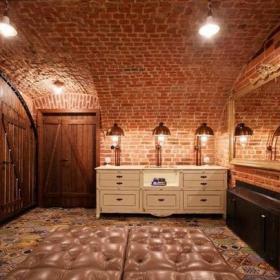 立体背景墙古典酒吧设计效果图