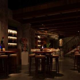 简约风格酒吧大厅吊顶装修效果图