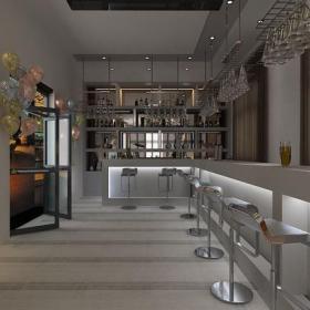 酒吧椅置物架椅凳工装现代风格酒吧吧台装修效果图