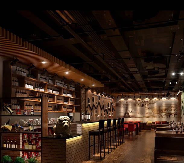 主题酒吧吧台沙发现代工装主题酒吧时尚动感的酒吧设计效果图大全