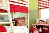 子母床红色高低床双层床上下床上下铺设计之儿童房效果图