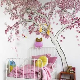 儿童房贴壁纸效果图