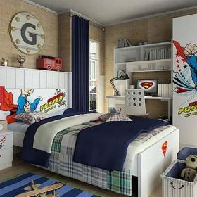 臥室臥室背景墻超人兒童房圖片效果圖