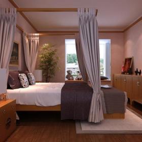 卧室背景墙新中式风格儿童房装修效果图新中式风格床头柜图片