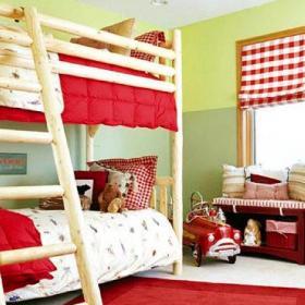 子母床紅色高低床雙層床上下床上下鋪設計之兒童房效果圖
