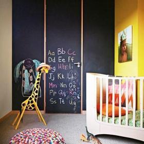 背景墙可爱创意儿童?#23458;?#40486;黑板墙效果图